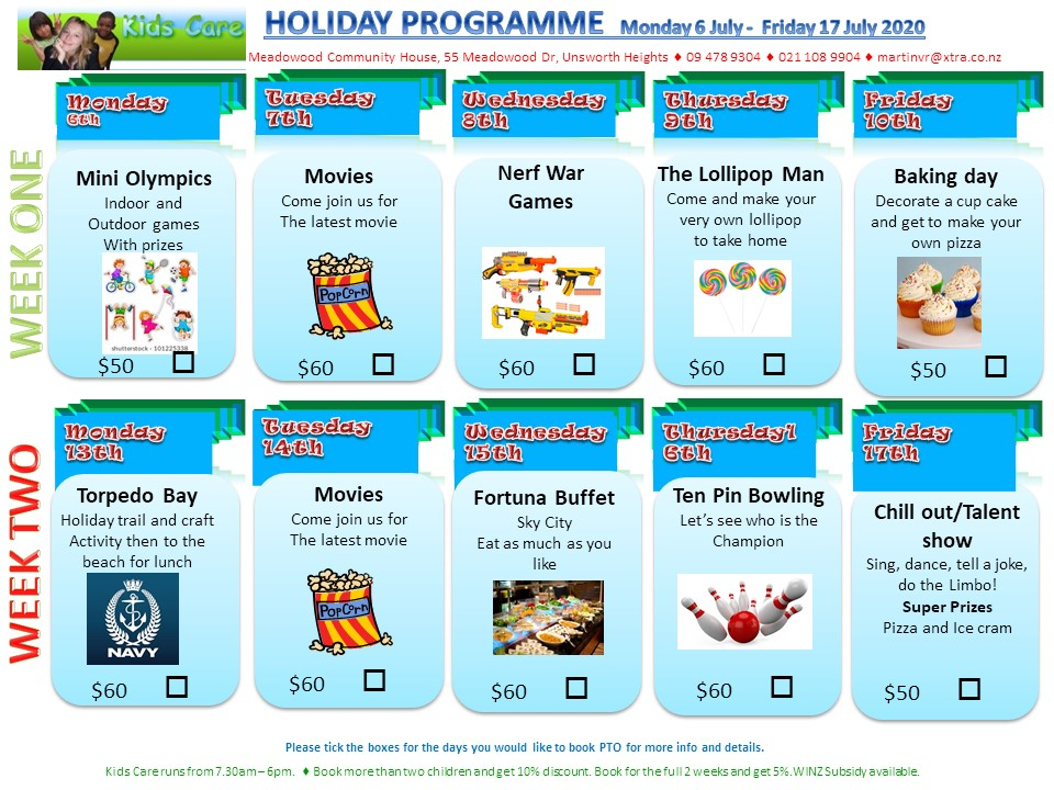 Holiday Programme July 2020